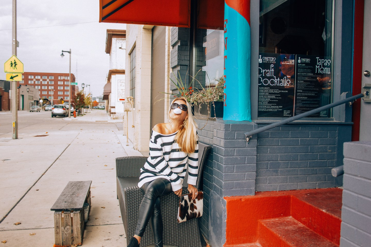 Black and White Striped Off-the-Shoulder Sweater and Vegan Leather Leggings