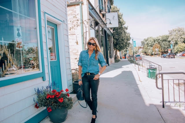 Chambray Shirt with Hermes Belt and 7 for All Mankind Jeans and Ankle Booties
