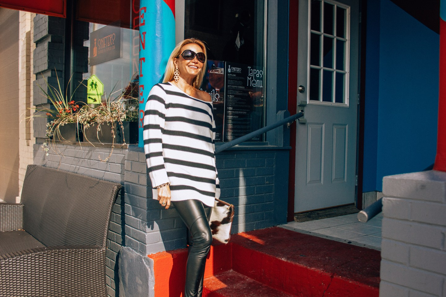 Lisi Lerch Ginger Earring with GigiNewYork Clutch and Striped Sweater