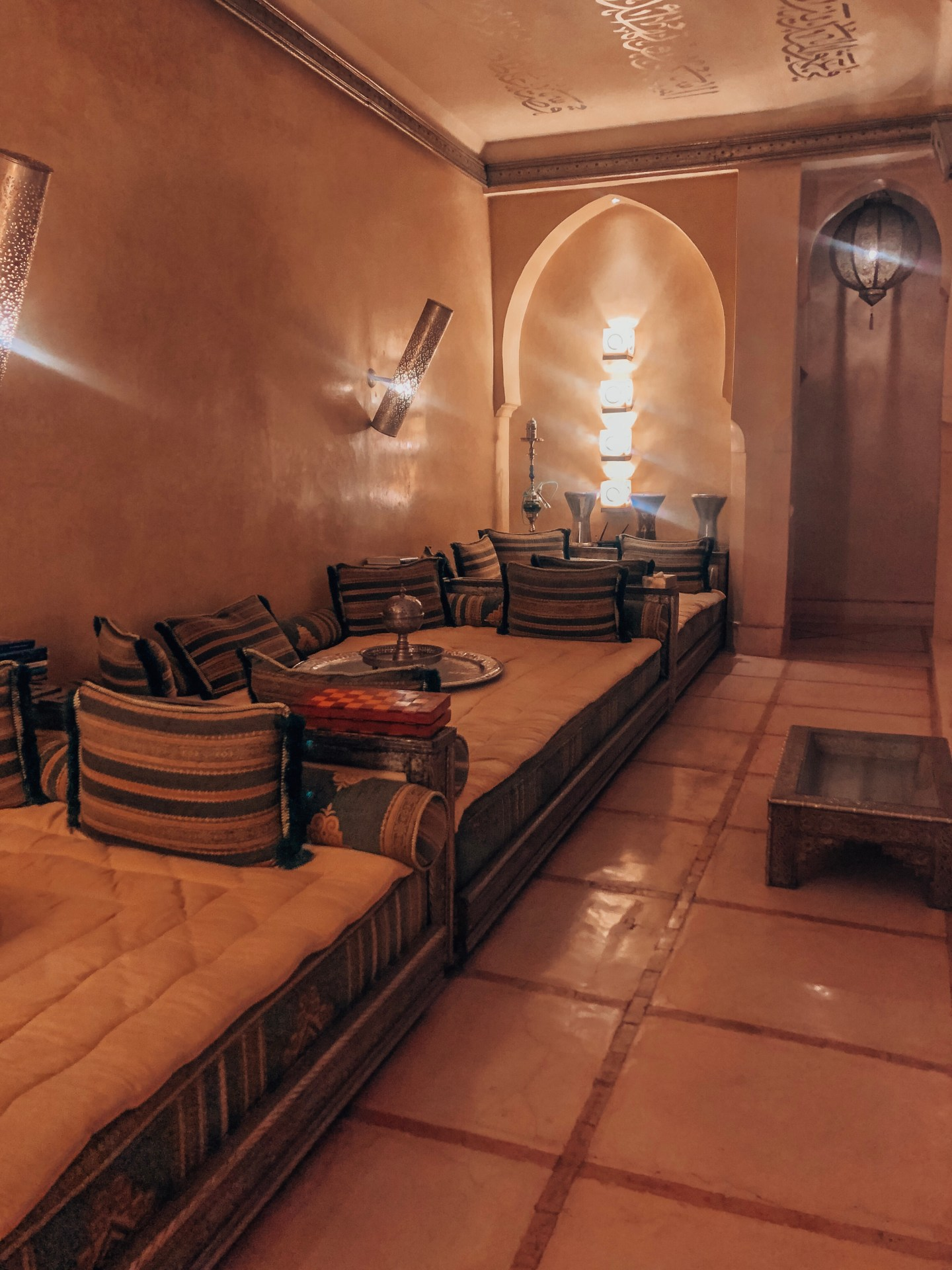 Sitting area to smoke Shisha—Marrakech, Morocco