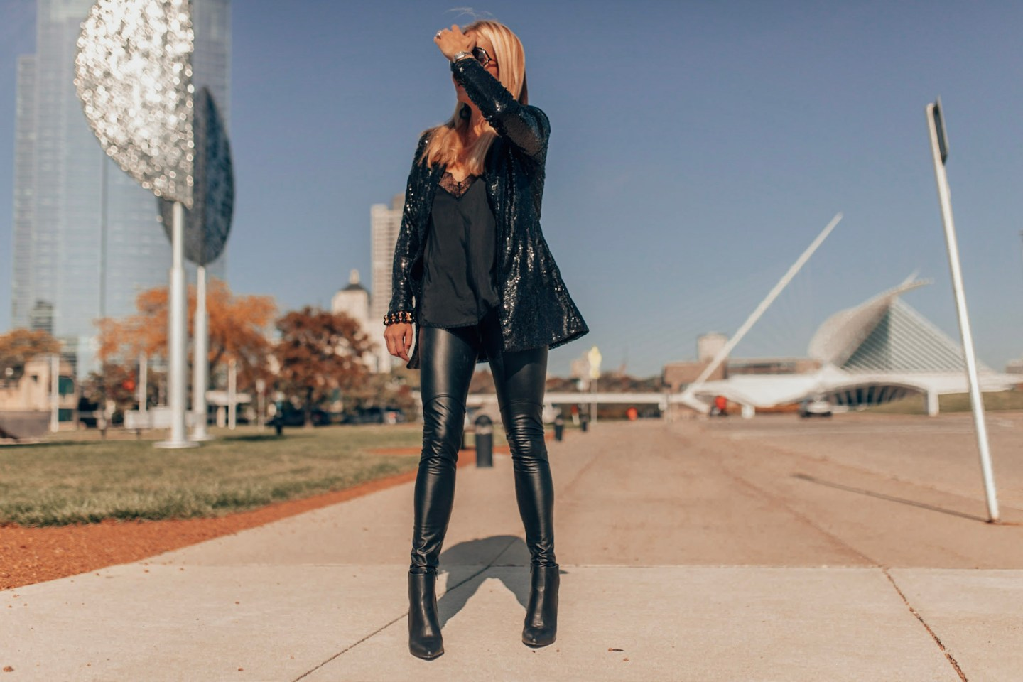 Holiday Outfit - Sequins blazer, faux leather pants as seen on Style & Travel Influencer Gloss & Harbour