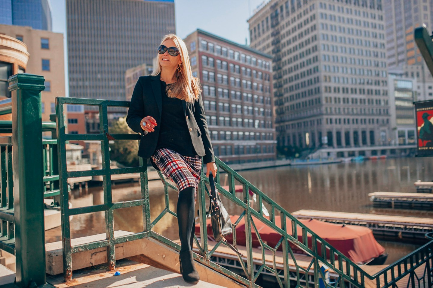 Holiday Plaid Picks-Plaid pencil skirt with J.Crew black blazer on style & travel blogger Gloss and Harbour