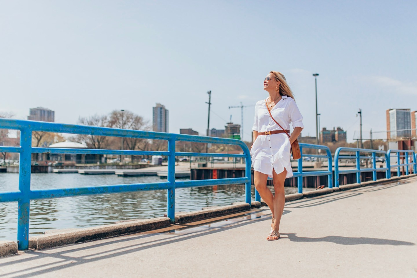 Classic Shirtdress for Summer on Gloss and Harbour, White Shirtdress with Rattan Bag and Sandals