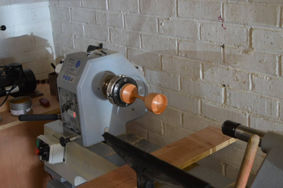 The lathe with the goblet.