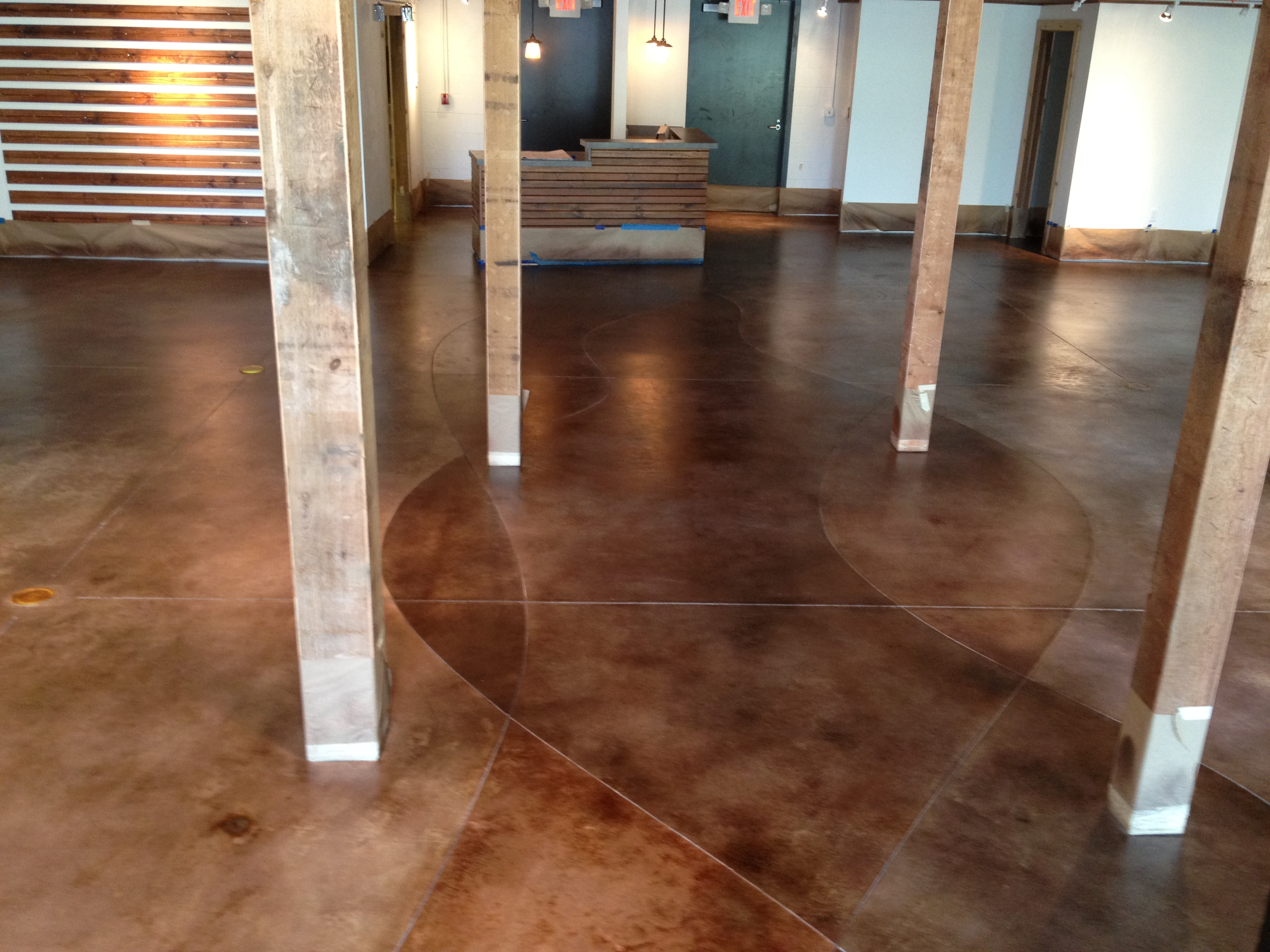 Cement Interior Flooring : Interior stained concrete floor gallery glossy floors