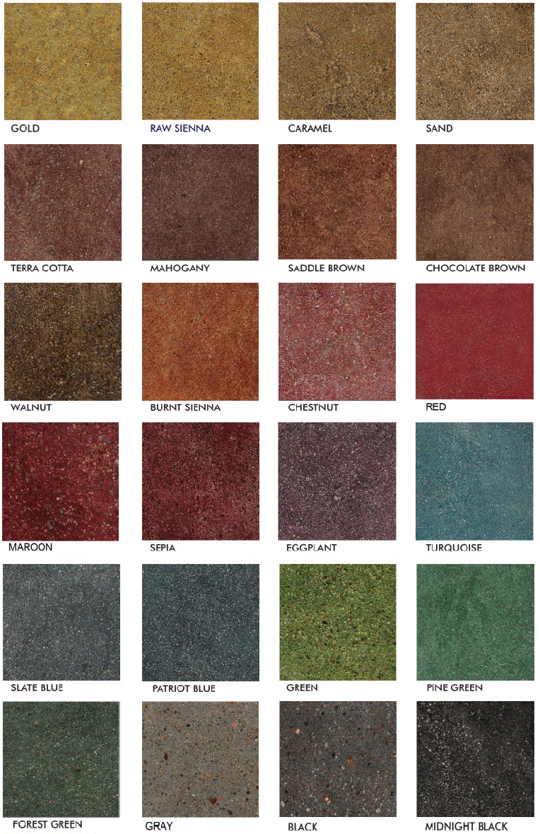 Stained polished concrete color chart glossy floors for Stained polished concrete floor