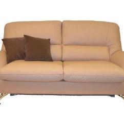 Leather 3 Seat Sofa Bed Chocolate Brown Dye Silica Luxury Modern Glossyhome