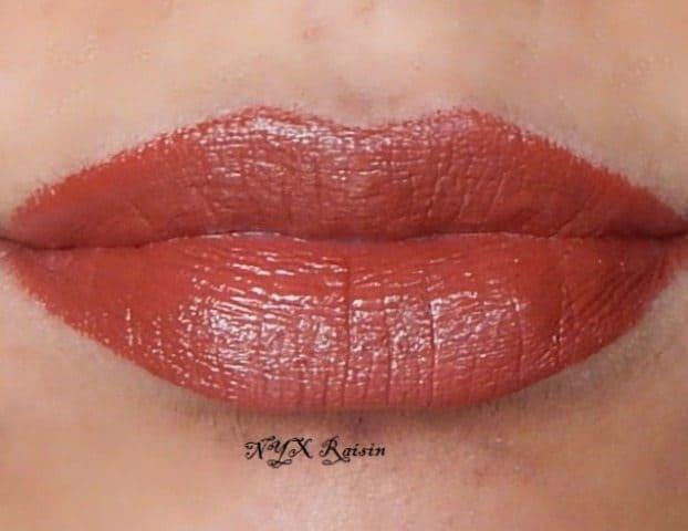 NYX round Lipstick raisin review and swatches