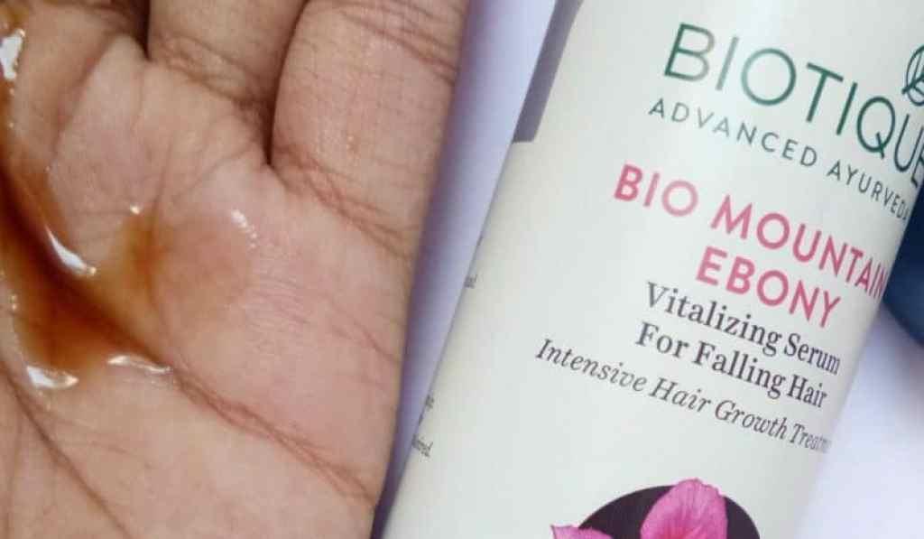 Biotique Mountain Ebony Vitalizing Serum For Falling Hair Review 3