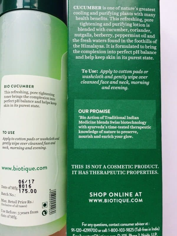 Biotique Bio Cucumber Pore Tightening Toner 2