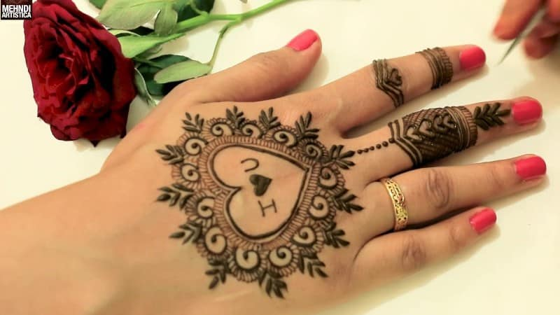 Henna Designs – Choose your Love Mehendi Design with Hearts 7