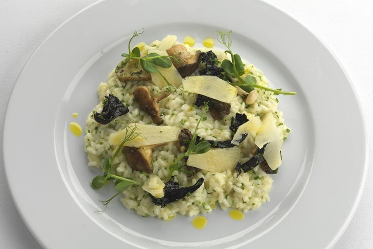 Mushroom and Pea Risotto with Parmigiano Reggiano