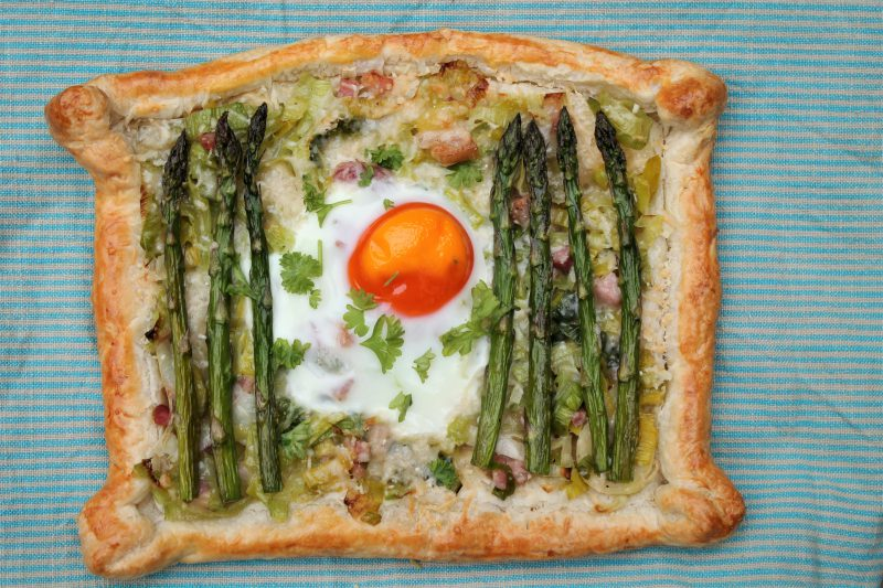 Asparagus, Leek and Parmigiano-Reggiano Puff Pastry Tarts