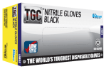 TGC Black Nitrile Disposable Glove Box of 100, Black Mechanics Glove