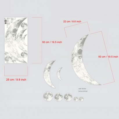 Extra Large Glow in the Dark Crescent Moon Wall Decal