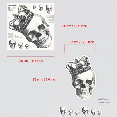 Extra Large Glow in the Dark Skull Wall Decal