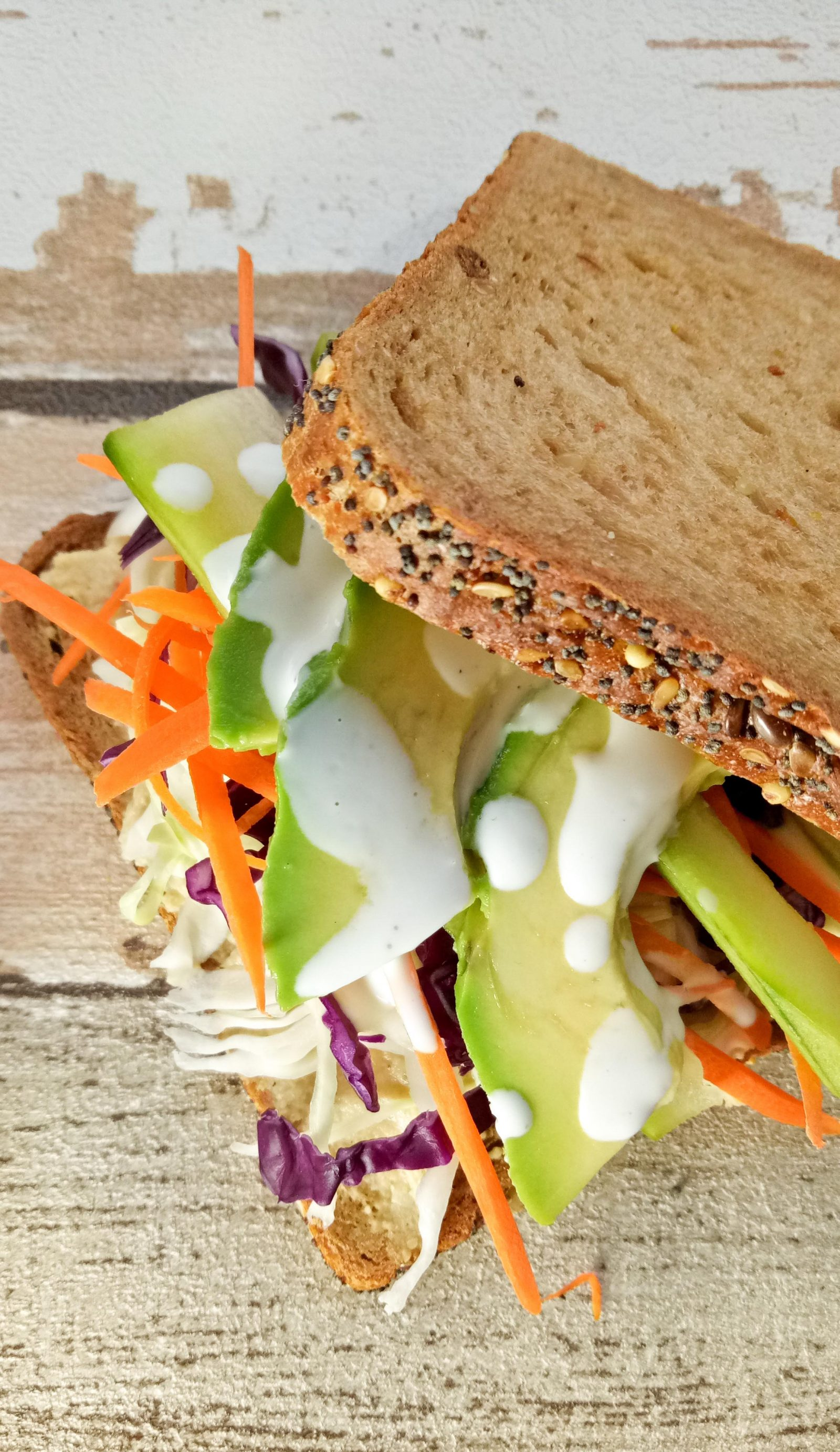 veggie & hummus sandwich with tahini lemon sauce
