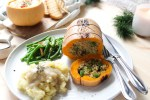Roasted butternut squash stuffed with quinoa & veggies