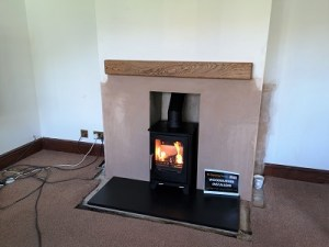 Fireplace alterations and stove installation in Langport, Somerset.