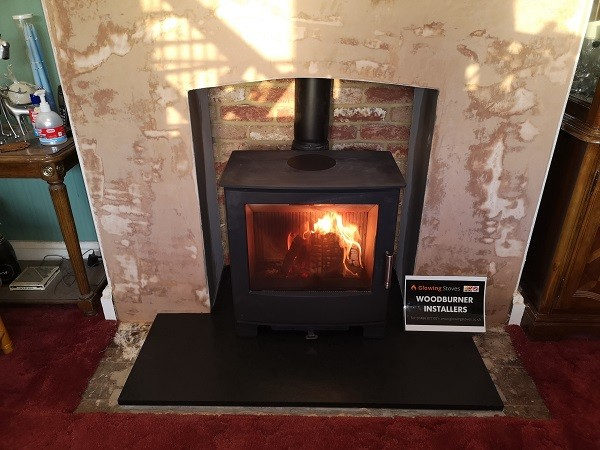 Fireplace alterations and stove installation in Wellington, Somerset.