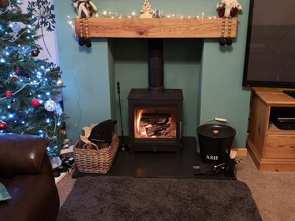 Wood burner installation in Taunton.