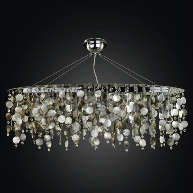 Oval Chandelier Mother Of Pearl Midnight 582 By Glow Lighting