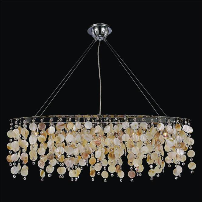 Oval Chandelier With Oyster Shell And Crystal Seaside Dreams 578 By Glow Lighting