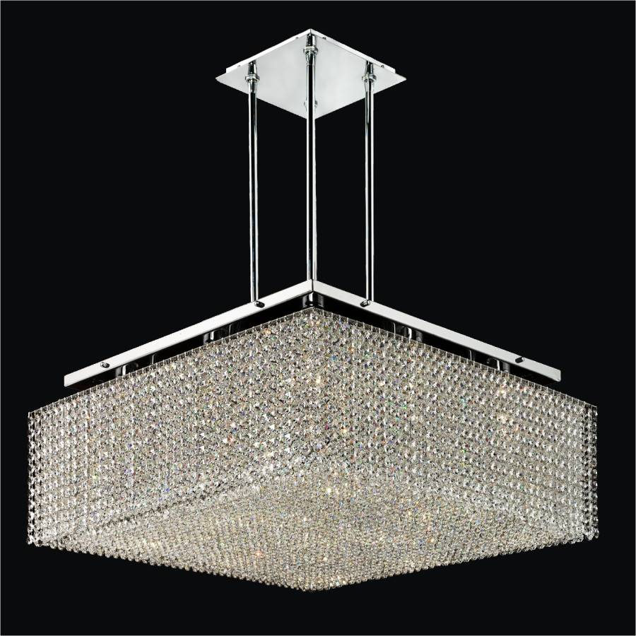 Square Crystal Chandelier Cube2 599 GLOW Lighting