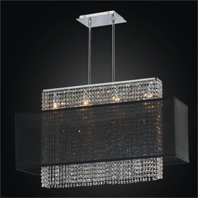 Linear Crystal Chandelier With Shade Urban Essentials 595 By Glow Lighting