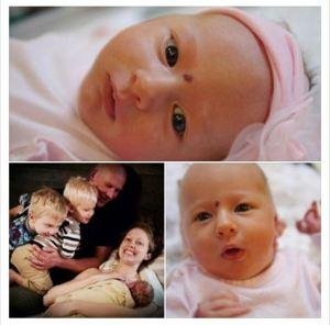 three panel image of newborn and family