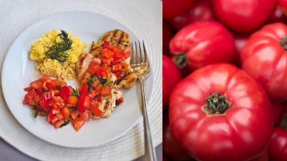 Grillowany filet z kurczaka z pomidorami,świeże pomidory