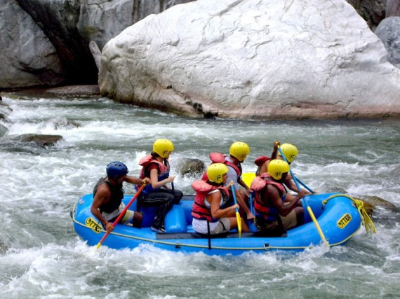 White water river rafting in La Ceiba in Honduras.