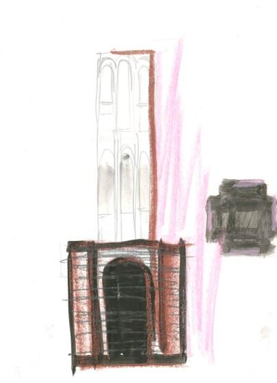 Per Kirkeby, Entwurfszeichnung Verkehrsturm Bremen, Skulptur undatiert, (1987), Bleistift, Aquarell, Kreide auf Papier, Kunsthaus Bregenz
