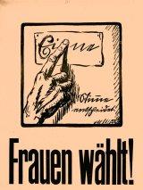 Ida Stroever und ihr Plakat fürs Frauenwahlrecht. © Focke Museum