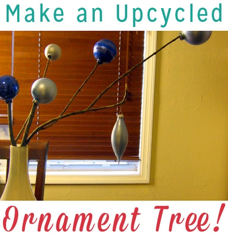 Why should Christmas ornaments be just a Christmas decoration? Use some of your leftover ornaments to make a pretty DIY decor piece.