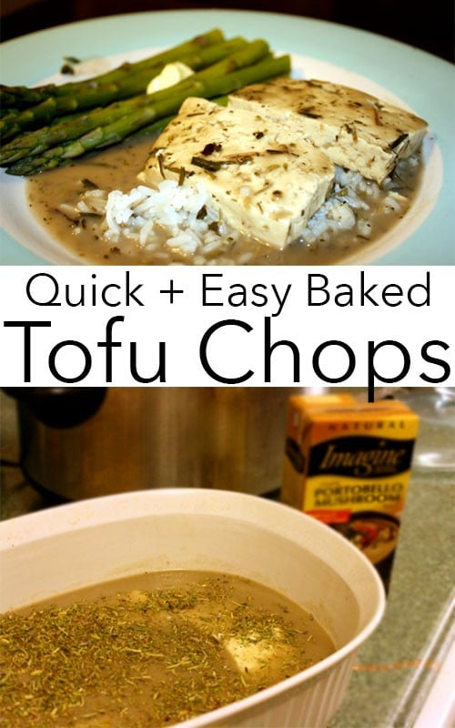 Baked tofu cutlets in rich, vegan mushroom gravy is a super easy, super satisfying one dish main course.