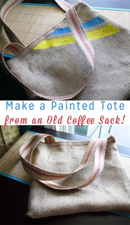 Turn an old burlap coffee sack into a cute painted tote bag for hauling groceries or for every day.
