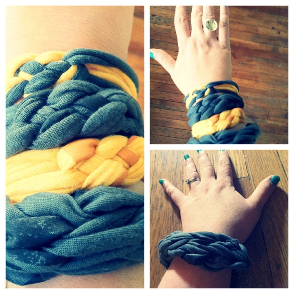 Remember finger knitting? You can use that technique to make cute, chunky t-shirt bracelets!