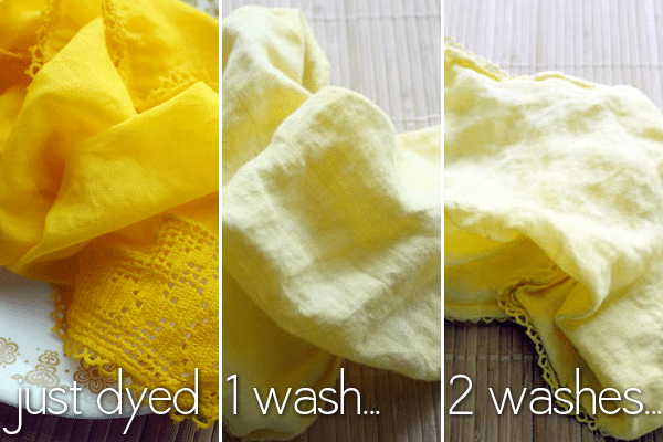 What happens when you wash fabric dyed with turmeric?
