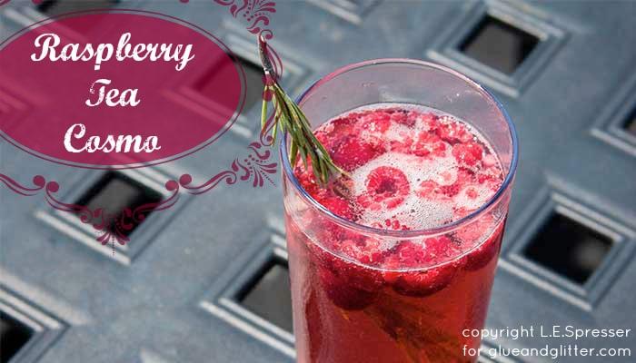 tea cocktail - raspberry tea cosmopolitan