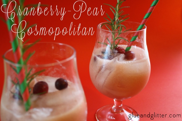 Christmas cocktails are still delicious after Christmas is over. Try my Pear and Cranberry Cosmopolitan recipe ASAP!