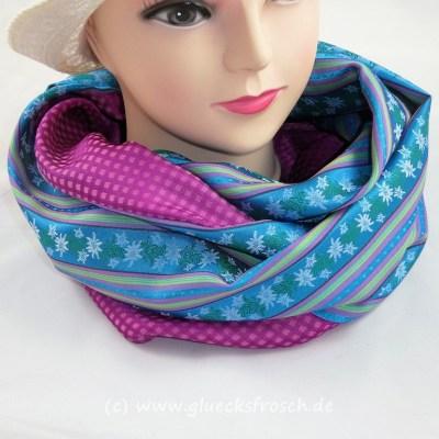 Schlauchschal Edelweiß pink blau