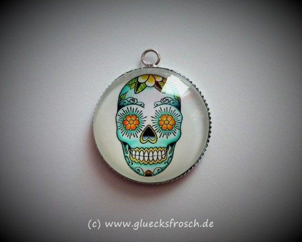 Cabochon, Skull, grün, weiß