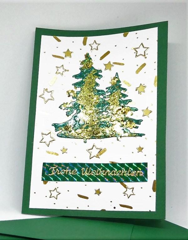 grüne Weihnachtskarte baum 1