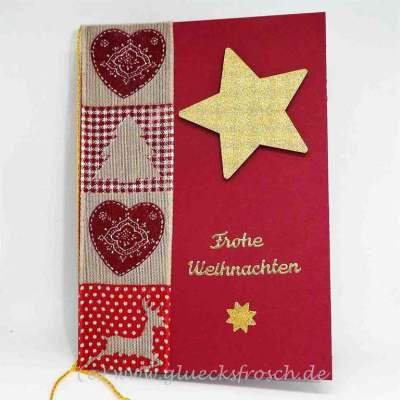 rote Weihnachtskarte mit Holzstern
