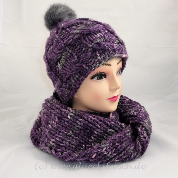 lila grau rosa melierte Mütze