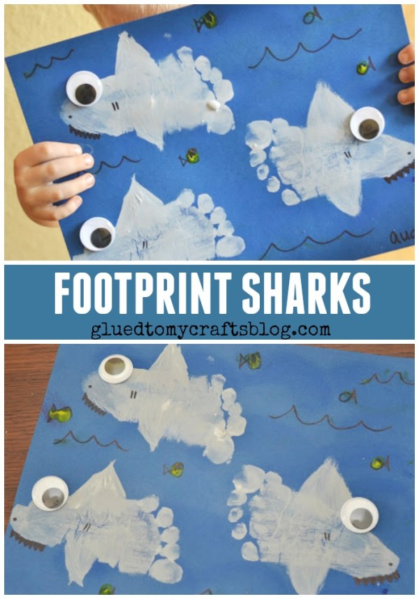 Footprint Sharks Keepsake - Kid Craft