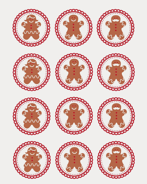 FREE Gingerbread Men Cupcake Topper {Printable}