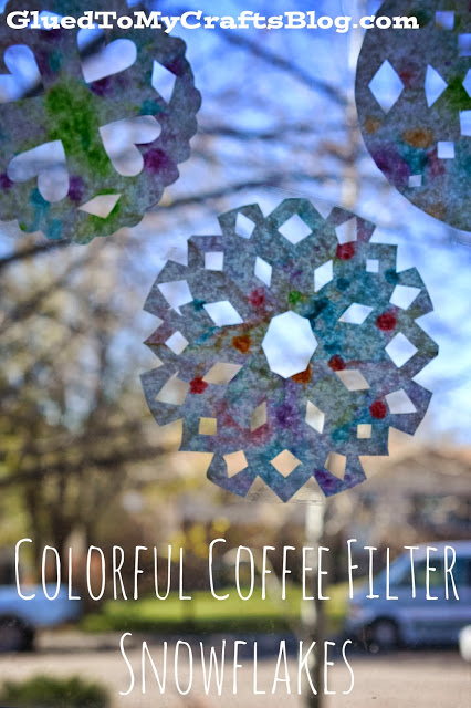 Colorful Coffee Filter Snowflakes {Kid Craft}