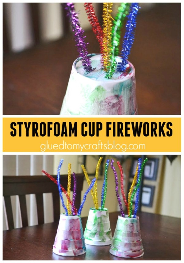 Styrofoam Cup Fireworks {New Year's Kid Craft}